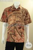 Kemeja Pria Lengan Pendek Bahan Batik Solo Motif Elegan, Baju Batik Kerja Kantoran Kwalitas Bagus Menunjang Penampilan Lebih Berkelas [LD12862PB-XL]