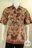 Baju Batik Pria Kantor Model Lengan Pendek, Kemeja Batik Solo Motif Tren Masa Kini Jenis Print Cabut, Cocok Juga Untuk Acar Resmi [LD12876PB-XXXL]
