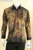 Kemeja Batik Solo Mewah Untuk Acara Resmi Dan Kondangan, Pakaian Batik Premium Lengan Panjang Motif  Bagus Jenis Tulis Daleman Full Furing, Tampil Gagah Berwibawa [LP12798TF-M]