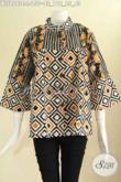 Baju Batik Modern Untuk Wanita Kantoran, Blouse Batik Keren 2 Motif Model Kerah Shanghai Lengan 7/8 Kancing Depan Hanya 150K [BLS9573C-L]