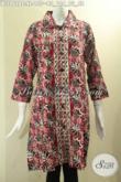 Toko Pakaian Batik Solo Online Koleksi Terlengkap, Jual Pakaian Blouse Wanita Model Krah Motif Bagus Bahan Halus Nyaman Di Pakai, Busana Batik Kekinian Kancing Depan Lengan 7/8 Hanya 100 Ribuan [BLS9628C-XL]