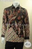 Kemeja Batik Exclusive Model Lengan Panjang Bahan Sutra Twis, Busana Batik Premium Pria Motif Elegan Jenis Tulis Daleman Pakai Furing, Pas Banget Untuk Acara Formal [LP12893SUWTF-L]