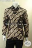 Kemeja Batik Tulis Motif Klasik Bahan Sutra Twis, Baju Batik Khas Eksekutif Model Lengan Panjang Full Furing, Pas Banget Untuk Acara Resmi Maupun Kerja [LP12894SUWTF-L]