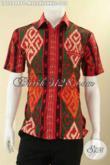 Jual Baju Batik Solo Motif Tenun Pas Buat Seragam, Kemeja Pria Lengan Pendek Istimewa Penampilan Terllihat Gagah Mempesona [LD12948P-M , L , XL , XXL]