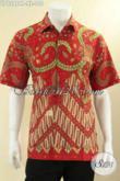 Baju Batik Pria Lengan Pendek Warna Merah Nan Berkelas, Busana Kemeja Batik Motif Klasik Jenis Printing Kwalitas Mewah Harga Murah [LD12964P-XL]