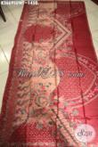 Koleksi Kain Batik Premium Terbaru, Batik Tulis Sutra Istimewa Khas Solo Warna Merah Motif Terkini Nan Berkelas Cocok Untuk Pakaian Mewah Pria Dan Wanita Sukses [K3669SUWT-240x105cm]