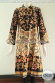 Aneka Busana Batik Dress Wanita Terbaru, Baju Batik Dengan Desain Istimewa Kerah Shanghai Lengan Panjang Yang Di Lengkapi Resleting Belakang Berpadu Motif Elegan Untuk Penampilan Terlihat Mewah Berkelas [DR9741P-XL , XXL]