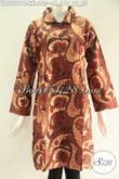 Dress Batik Jumbo Lengan 7/8, Busana Batik Solo Spesial Buat Wanita Gemuk Model Kerah Pakai Kancing Depan Sampai Bawah Modis Dan Trendy [DR9757PB-XXL]