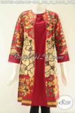 Dress Batik Wanita Desain Mewah Kombinasi Kain Polos Katun Warna Merah, Busana Batik Istimewa Model Tanpa Kerah Lengan 7/8, Membuat Penampilan Terlihat Cantik Dan Anggun [DR9762P-M , L]