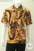 Kemeja Batik Solo Lengan Pendek Mewah Halus Motif Terkini, Produk Baju Batik Terbaru Jenis Tulis Soga Desain Mewah Pakai Furing, Pilihan Tepat Buat Ngantor [LD13035TSF-L]