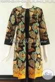 Dress Batik Solo Nan Modis Dan Berkelas, Berbahan Halus Motif Elegan Model Pias Kombinasi Kain Katun Polos Pakai Resleting Belakang Lengan 7/8 Tampil Makin Bergaya [DR9779P-M , L]