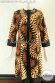 Baju Dress Batik Wanita Motif Trendy Berpadu Kain Polos Katun Yang Nyaman Di Pakai Harian, Model Pias Pakai Resleting Belakang Lengan 7/8 Hanya 175K [DR9783P-L]