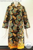 Tunik Batik Kwalitas Bagus Harga Terjangkau Asli Buatan Solo Motif Terkini, Model Lengan 7/8 Pakai Kerah Di Lengkapi Kancing Depan Sampai Bawah [DR9790P-L]