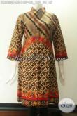 Dress Batik Modis Cocok Untuk Seragam Kerja Dan Ke Acara Resmi Tampil Berkelas, Model Kerah Shanghai Kancing Depan Sampai Bawah Lengan 7/8 [DR9830P-L]
