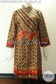 Dress Batik Jumbo Wanita Gemuk Model Kerah Shanghai Motif Bagus Bahan Halus Nyaman Di Pakai, Di Lengkapi Kancing Depan Sampai Bawah Dan Lengan 7/8 [DR9831P-XXL]