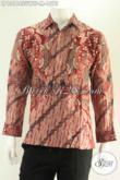 Kemeja Batik Premium Khas Eksekutif Model Lengan Panjang Tulis Asli, Berbahan Sutra Twis Daleman Full Furing Bikin Penampilan Lebih Percaya Diri [LP13164SUWTF-M]