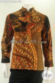 Kemeja Batik Motif Elegan Model Lengan Panjang Kerah Shanghai, Baju Batik Koko Untuk Cowok Masa Kini Pas Buat Acara Resmi [LP13211PBK-S]