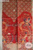 Koleksi Paling Baru Kain Batik Solo Nan Istimewa, Hadir Dengan Warna Merah Berpadu Motif Elegan Dan Mewah, Bisa Untuk Busana Santai Maupun Resmi [K3691P-200x110cm]