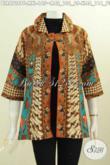 Pakaian Balero Batik Keren Elegan Motif Klasik, Baju Batik Printing Wanita Karir Full Furing Bautan Solo Untuk Tampil Berkelas [BLR6728PF-XL]