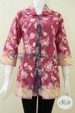 Busana Batik Aneka Model Dan Motif,Paduan Dua WArna Untuk Blus Batik Wanita Karir [BLS1065P-XL]