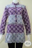 Blus Wanita Paduan Warna Ungu Dan Biru Muda Asli Batik Solo [BLS1430C-L]
