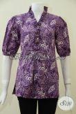 Koleksi Terbaru Blus Batik Ungu Lengan Pendek Seragam Kerja Wanita Karir, Baju Batik Trendy  Tampil Cantik Dan Stylist [BLS1874C-M]