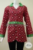 Baju Batik Print Warna Merah Motif Simple Dan Trendy, Blus Batik Lengan Panjang Sangat Coco Untuk Baju Kerja Wanita Karir [BLS2147P-L]