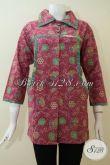 Baju Batik Lengan 3/4 Untuk Wanita Modern Tampil Rapih Elegan Eksklusif [BLS2302P-XXL]