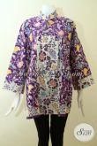 Batik Blus Ukuran Jumbo Khusus Perempuan Berbadan Gemuk, Pakaian Kerja Batik Motif Keren Warna Ungu Nan Mewah Dan Trendy [BLS2548C-XXL]