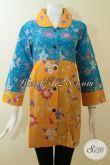 Busana Batik Warna Cerah Untuk Wanita Berkulit Kuning Langsat,Kombinasi Batik Warna Biru Dan Kuning [BLS2802P-L]