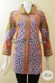 Blus Batik Trendy Motif Klasik, Busana Batik Berkelas Harga Murah, Baju Batik Dengan Kombinasi Warna Paling Keren Cocok Untuk Kondangan Dan Kerja [BLS2955P-XL]