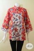 Blus Batik Dua Motif Kombinasi Warna Merah Dan Putih, Baju Batik Keren Wanita Muda, Batik Solo Halus Harga Murmer [BLS3069P-M]
