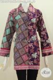 Baju Batik Blus Jumbo Desain Dua Motif Dengan Kerah Kotak Elegan Sekali, Pakaian Batik Cap Tulis Untuk Wanita Gemuk Agar Penampilan Lebih Menawan [BLS4277CT-XXL]