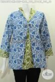 Baju Blus 2 Warna Biru Dan Hijau Hadir Dengan Desain Jas Nan Mewah, Busana Batik Kerja Wanita Karir Proses Print Motif Unik Tampil Lebih Mempesona [BLS4431P-M , L]