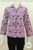 Batik Blus Ungu Motif Trendy Model Kerah Langsung, Pakaian Batik Modis Untuk Cewek Yang Ingin Berpenampilan Lebih Rapi Dan Gaya Setiap Hari [BLS4446P-XL]