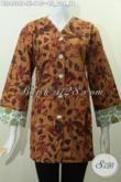 Baju Blus Batik Warna Klasik Motif Modern Kwalitas Halus Proses Printing, Baju Batik Elegan Model Plisir Kombinasi Dengan Kerah V Modis Untuk Ke Kantor Dan Kondangan [BLS4528P-XL]