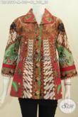 Baju Blus Batik Motif Sinaran Proses Printing, Pakaian Batik Klasik Elegan Model Kerah Kotak Trend Terkini Wanita Tampil Lebih Anggun [BLS4559P-M]