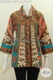 Pakaian Blus Desain Terbaru Dengan Kerah Kotak, Baju Batik Elegan Motif Sinaran Proses Print Buat Penampilan Lebih Cantik Memikat [BLS4565P-L]
