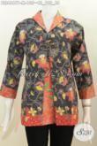 Blus Batik Motif Bunga Nan Istimewa, Pakaian Batik Desain Kombinasi Blazer Buat Wanita Muda Dan Dewasa Yang Ingin Tampil Cantik Mempesona, Berbahan Halus Proses Printing 100 Ribuan [BLS4667P-M]