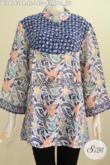 Baju Blus Keren Kombinasi Dua Motif, Produk Busana Batik Bahan Paris Dua Warna Daleman Tanpa Furing, Modis Untuk Santai [BLS4743PR-XL]