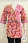 Jual Produk Pakaian Batik Istimewa Warna Merah Kombinasi Pink, Produk Baju Batik Terkini Berbahan Halus Motif Keren Proses Printing Di Jual 110 Ribu [BLS4890P-L]