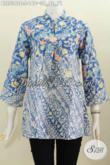 Blus Batik Biru Kwalitas Bagus Desain Trendy Kerah Shanghai Modis Buat Ke Kantor, Bahan Adem Proses Cap Harga 160K [BLS5392C-S]