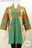 Baju Batik Istimewa, Pakaian Batik Berkelas Buatan Solo Buat Wanita Gemuk, Busana Batik Trend Mode 2016 Desain Tanpa Kerah Motif Klasik Proses Printing Harga 100 Ribuan [BLS5471P-XXL]