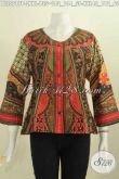 Pakaian Batik Wanita Model Kekinian, Blus Batik Tanpa Kerah Motif Klasik Warna Mewah Proses Printing Elegan Buat Ke Kantor Dan Acara Formal [BLS5587P-XXL]