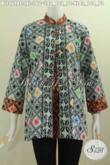 Baju Batik Istimewa Buat Wanita Karir Dewasa, Busana Batik Masa Kini Untuk Tampil Elegan Dan Modis Model Pias Depan Kancing Besar Proses Cap [BLS5698C-L , XL]