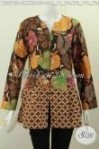 Baju Blus Batik Modis, Baju Batik Santai Untuk Wanita Muda Dan Dewasa Model Tanpa Krah, Pakaian Batik Trendy Dengan Rempel Bahan Tampil Makin Gaul [BLS5813P-S]