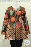 Baju Blus Kerja Wanita Karir, Pakaian Batik Santai Model Rempel Bawah Dan Tanpa Kerah Motif Printing Bahan Adem Hanya 130 Ribu [BLS5815P-S]