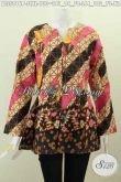 Blus Batik Modern Model Tanpa Kerah, Pakaian Batik Santai Wanita Muda Dan Dewasa Dengan Rempel Bawah, Berbahan Adem Motif Bagus Proses Printing Hanya 100 Ribuan [BLS5816P-XL]