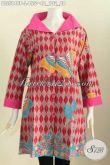 Baju Batik Nan Modis, Pakaian Batik Keren Warna Mewah Motif Unik Proses Printing, Pakaian Batik Kerah Lebar Buat Kerja Dan Jalan-Jalan [BLS5848P-L]