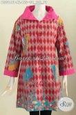 Baju Batik Elegan Dan Keren, Blus Batik Kerah Lebar Motif Trendy Proses Printing Bahan Halus Kombinasi Embos Harga 150 Ribuan [BLS5849P-XL]